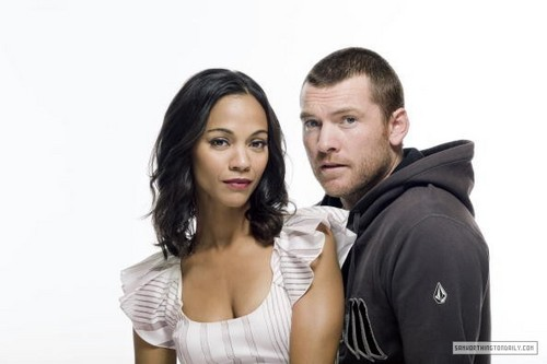 Sam Worthington wallpaper with a portrait titled Sam Worthington & Zoe Saldana
