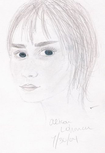 Simple Sketch of Alison Lohman with Blue Eyes