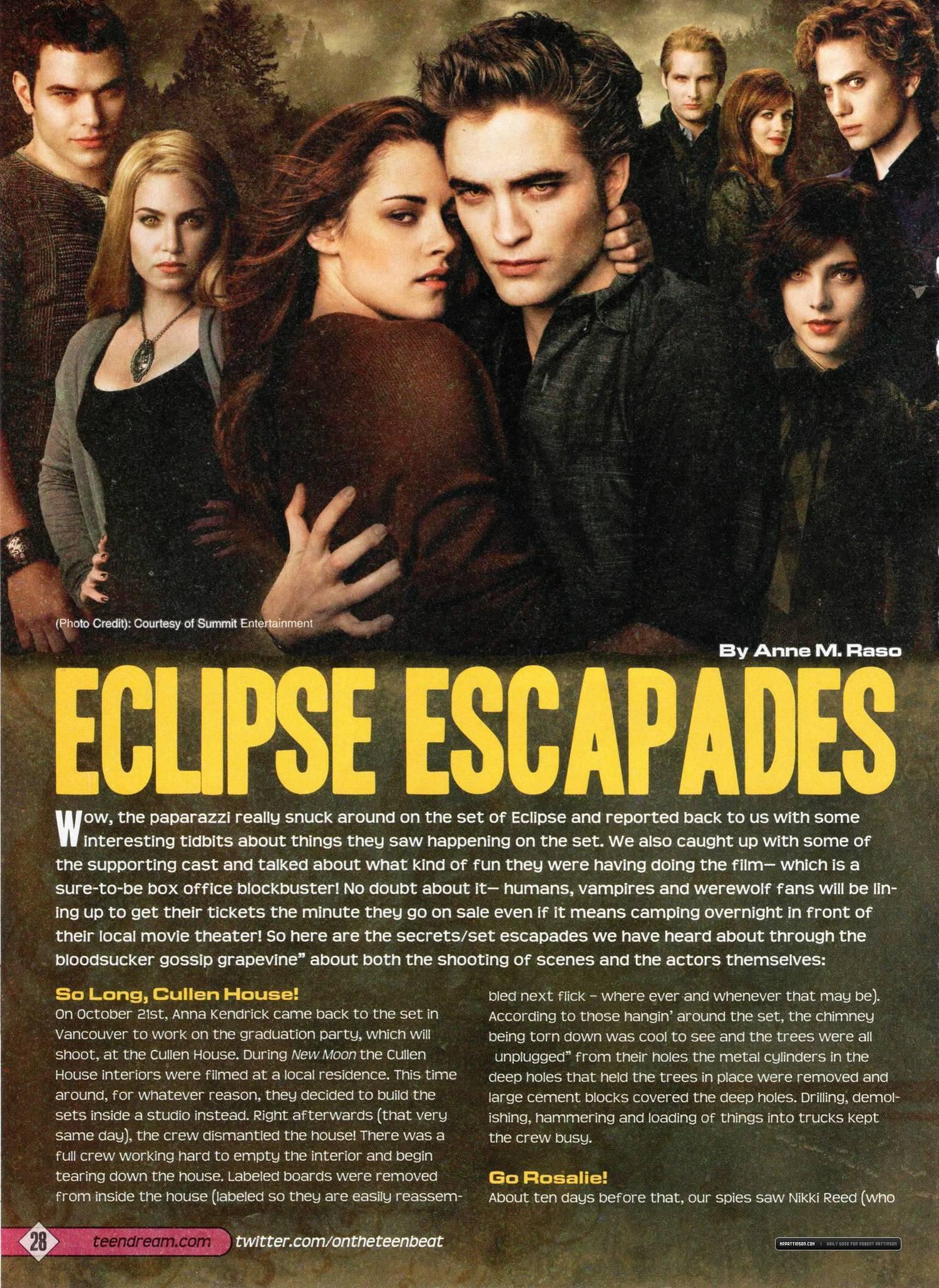 Teen Dream Magazine Featuring Robert Pattinson & Eclipse