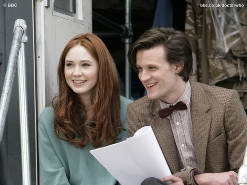 The Doctor and Amy (Matt Smith and Karen Gillan) - the-eleventh-doctor Wallpaper