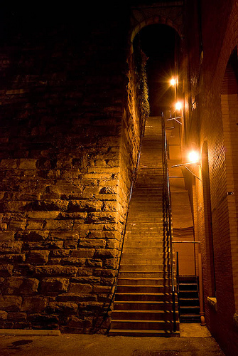 The Exorcist Hintergrund with a street, a penitentiary, and a portcullis titled The exorcist steps after the exorcist film
