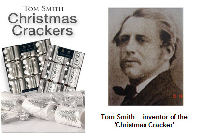 Christmas wallpaper possibly with a sign and a newspaper entitled Tom Smith (Inventor Of The Christmas Cracker)