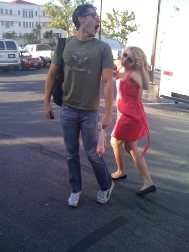 Dianna and Matt Goofing Around on Set