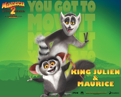 Maurice and King Julien kertas dinding