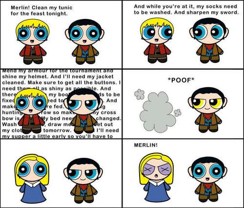 Powerfuff Merlin/Arthur comic strip
