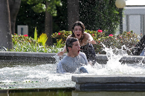 Shenae and Matt on the set of 90210