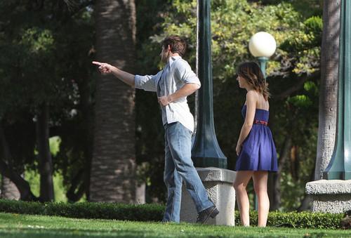 Shenae and Matt on the set of 90210