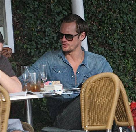 Alexander Skarsgård going to have lunch with a friend at fred Segal in West Hollywood January 17
