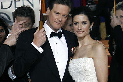 Colin Firth and wife Livia Giuggioli attend 67th Golden Globe Awards