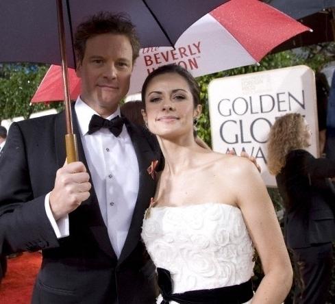 Colin Firth and wife Livia Giuggioli attend 67th Golden Globe Awards