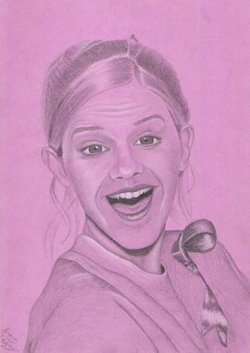 Crazy Happy Emma Watson on a kulay-rosas Background