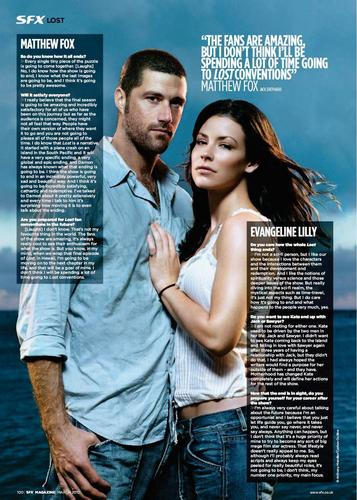 matthew fox+evangeline lilly- SFX MAGAZINE