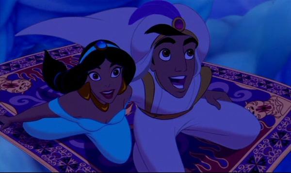 Which scene was the most romantic poll results disney for Aladdin carpet ride scene