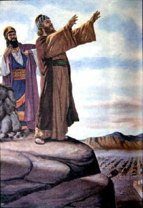 What did Balaam do when watching the Israelites from the top of a mountain?