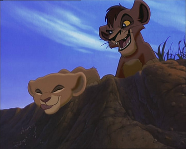 Who chased Kiara & Kovu (cubs)?