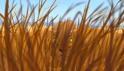 Before Nala attacked Pumbaa, he was following a bug. What colour was it?