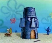True or false. In the episode Rock-A-Bye Bivalve Was Squidwards house shown on the scene of the big hill of diapers