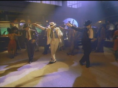 "MJ does the Moonwalk in ""Smooth Criminal"""