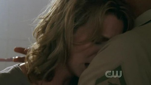 T/F : She's in Lucas' arms ?