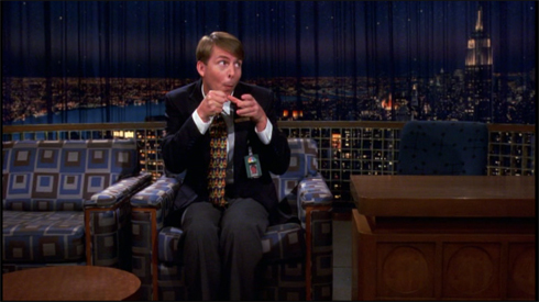 "At the end of ""Tracy Does Conan"" Kenneth acts out a fake interview on the Late Night set. Who is his ""good friend and roommate"" that he makes hit films with?"