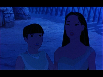 "GIVE THE MOVIE RESPONSE: ""Pocahontas wants to look into the eyes of the man who killed Kocoum."""