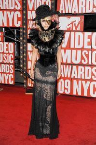Who was Lady GaGa's petsa at the VMA's?