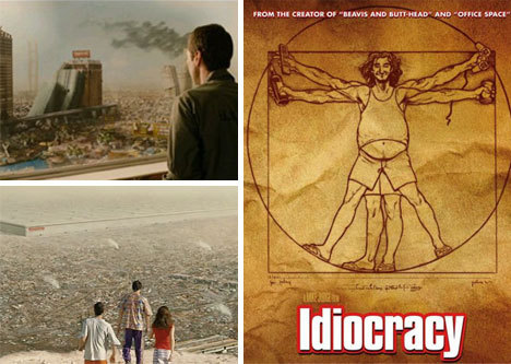 How far into the future did Luke Wilson travel in the movie Idiocracy?