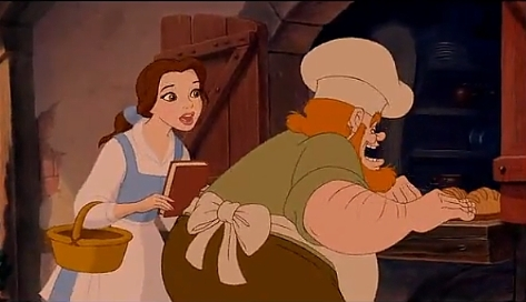 What story was Belle describing to the baker in the beginning of the film?