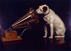 A dog looking into the sound horn of a wind up gramophone has been a famous advertising logo for many years. What is the name of this dog?