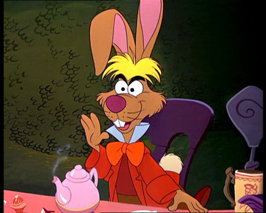 What is the color of the March Hare's eyes?