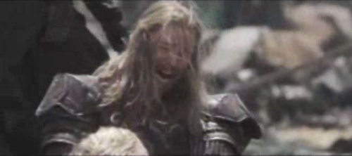 In this scene who is Eomer weeping for?