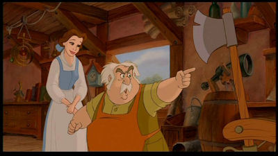 What type of tool does Belle have to hand to her Father when he's working on his invention?