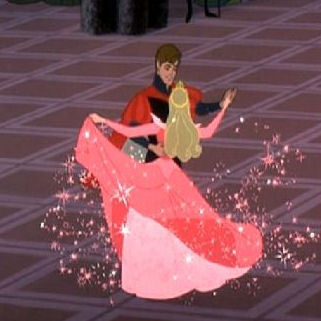 What were the names of the two fairies that were fighting over the color of Aurora's dress?
