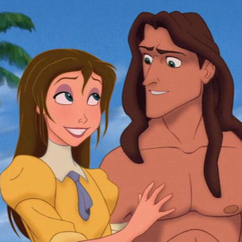 What colour are the फूल that Tarzan picks for Jane?
