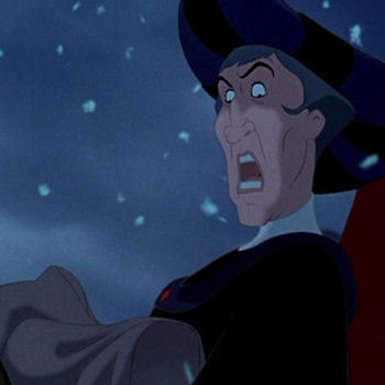 What words are being sung when the Archdeacon is telling Frollo to care for the child?