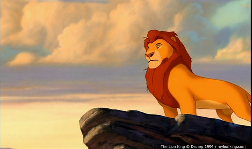 Who was the first character to approach Mufasa in the opening scene of the Lion King?
