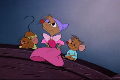 Why did one of the mother mice shoo her children under the lit at the beginning of the movie?
