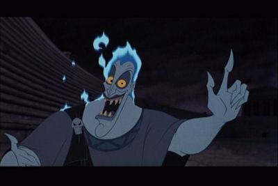 """Hades gets really angry with Panic for wearing """"Hercules"""" shoes."""