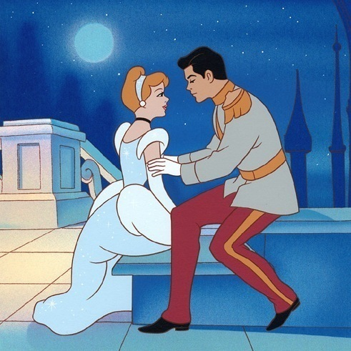 T/F: Cinderella kissed her prince when they sat on the stairs.