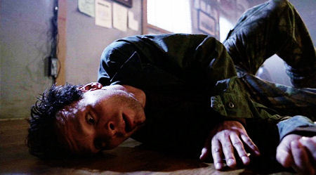True or False: Ben Cotton said he couldn't really feel it when he hit the floor during his death scene.