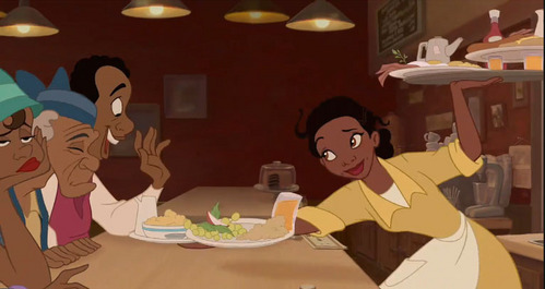 What is the color of Tiana's shoes when she wears her yellow dress?