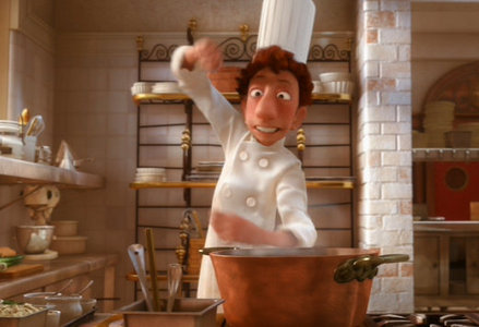 Who was looking at Linguini when he acted funny as pictured below?