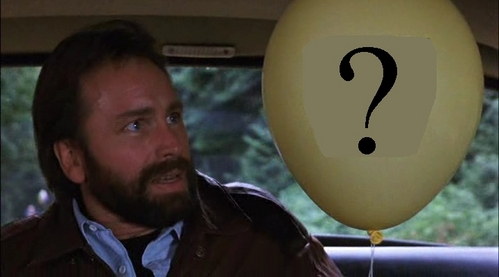 What does the Schreiben on the balloon say?