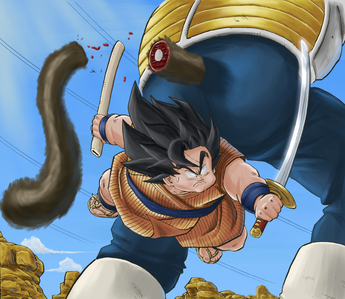 Who was Great-Ape Vegeta holding at that moment?