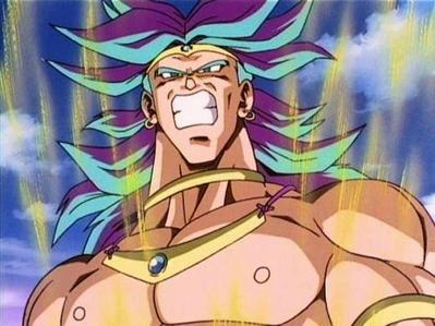 Why is Broly's hair blue/purple when he turns Super Saiyan-Jin at the 8th movie?