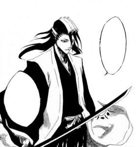 What does Kuchiki Byakuya say in this picture?