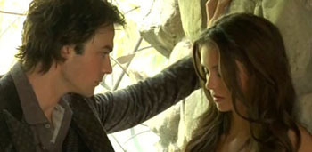 What were the 1st words Damon told Elena when he found her upside down in the car accident?
