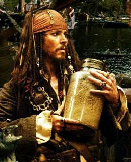 what was in the jar---in POTC 2, when jack started singing?