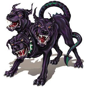 Name the Mythological three headed dragon tailed dog ?