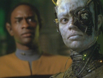 What percentage of Seven of Nine's Borg implants were removed by the EMH Doctor?